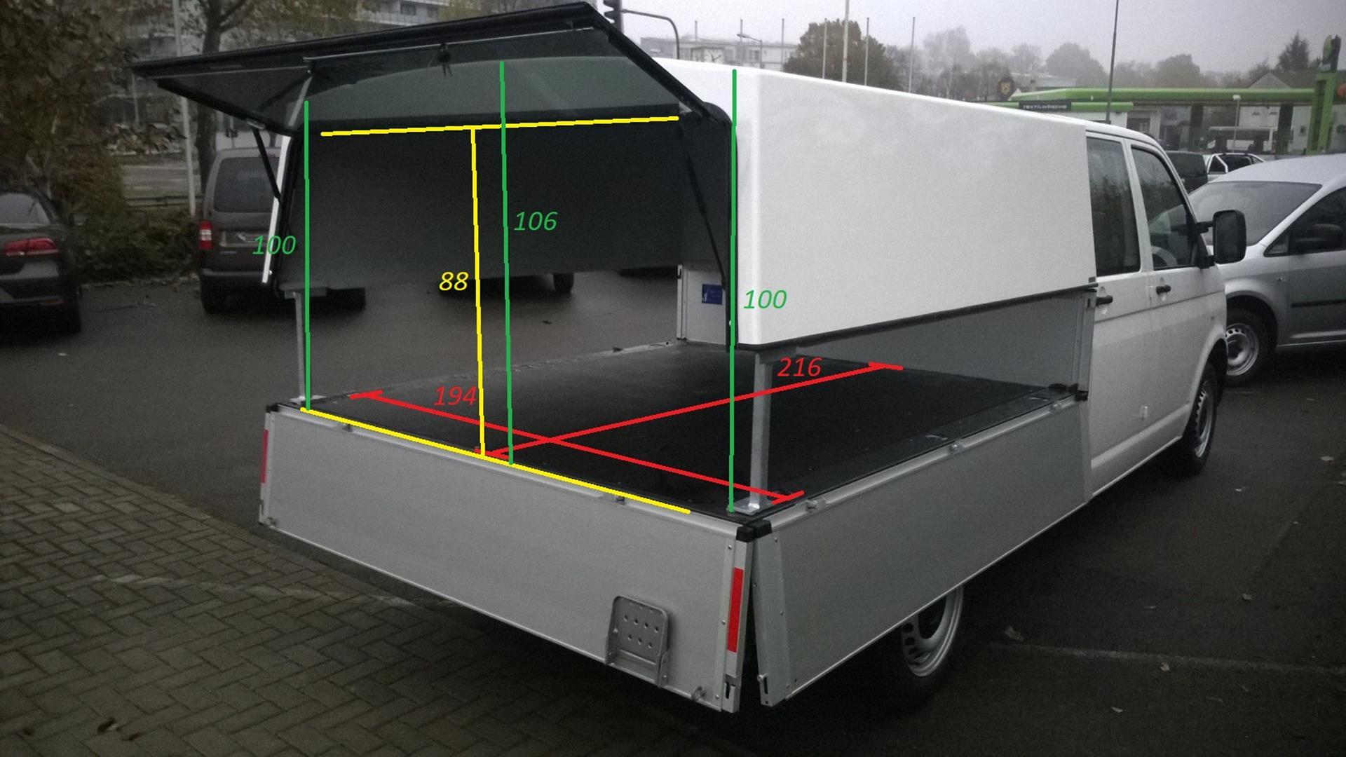 Beltop Hardtop Classic für VW Bus T5 Doppelkabine Pritsche passend für VW  T5